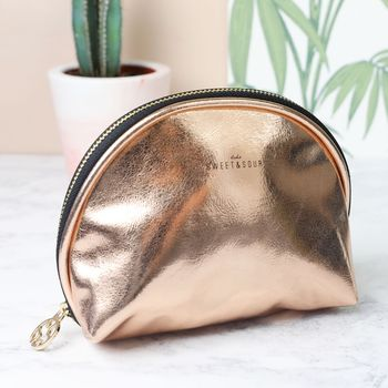 Metallic Copper Make Up Bag