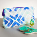 Geometric Blue Large Wash Bag