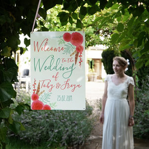 Personalised Winter Wedding Welcome Sign - hanging decorations