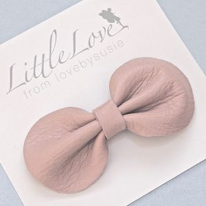 Girls Leather Bow Hair Clip Dusky Pink - more