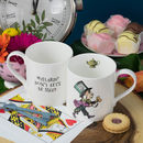 Fine bone china mug with original illustration of the Mad Hatter from Alice in Wonderland