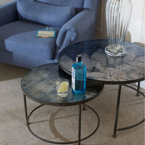 Botanical Blue Glass Top Nest Of Tables - furniture