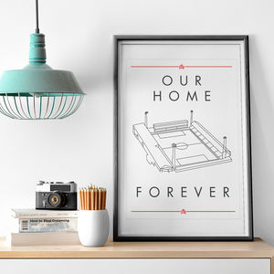 'Our Home Forever' Bees Football Stadium Print - posters & prints
