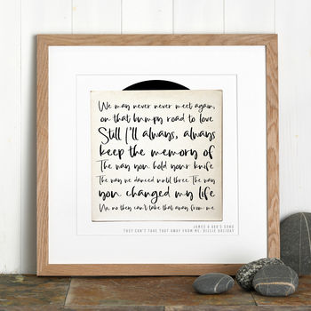 Personalised Song Record print from Letterfest