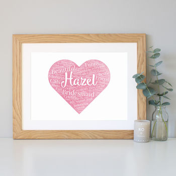 Bridesmaid Gift Watercolour Word Art Print