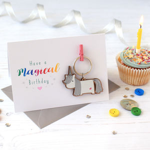 Unicorn Keyring Birthday Card - birthday cards