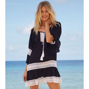 Maui Cotton Beach Kaftan Navy Blue - dresses