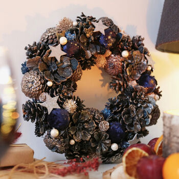 Navy Blue Pinecone And Flower Wreath