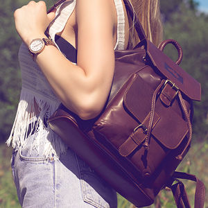 'Outback' Luxury Leather Backpack