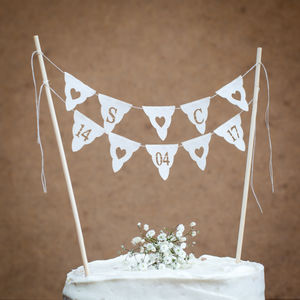Wedding Cake Bunting Initials And Date Personalised - kitchen accessories
