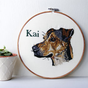 Personalised Embroidered Pet Portrait - textile art