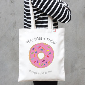 Personalised 'You Donut Know' Tote Bag - bags, purses & wallets