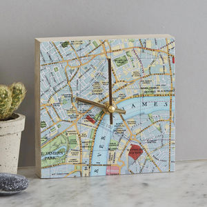 Personalised Map Location Square Clock - office & study