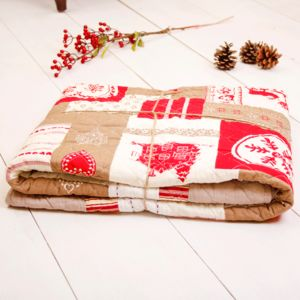 Red Stag Quilted Blanket Bed Spread