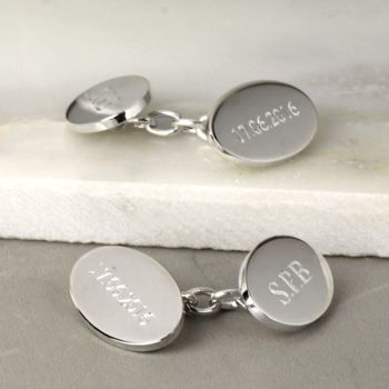 Classic Silver Oval Chain Cufflinks