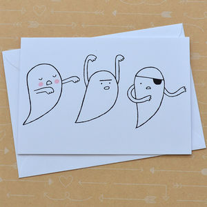 Three Ghosts Hand Screenprinted Card