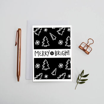 Merry And Bright, Printed Christmas Card