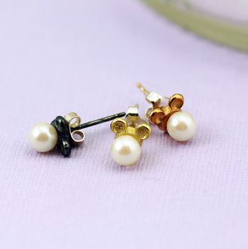 Sterling Silver Mouse Earrings With Pearls