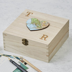 Personalised Map Heart Wedding Keepsake Box