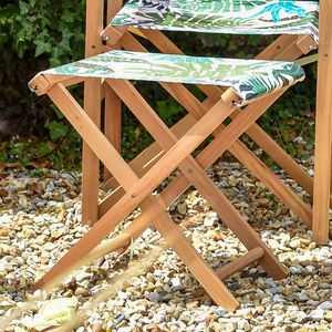 Tropical Palm Print Folding Garden Stool