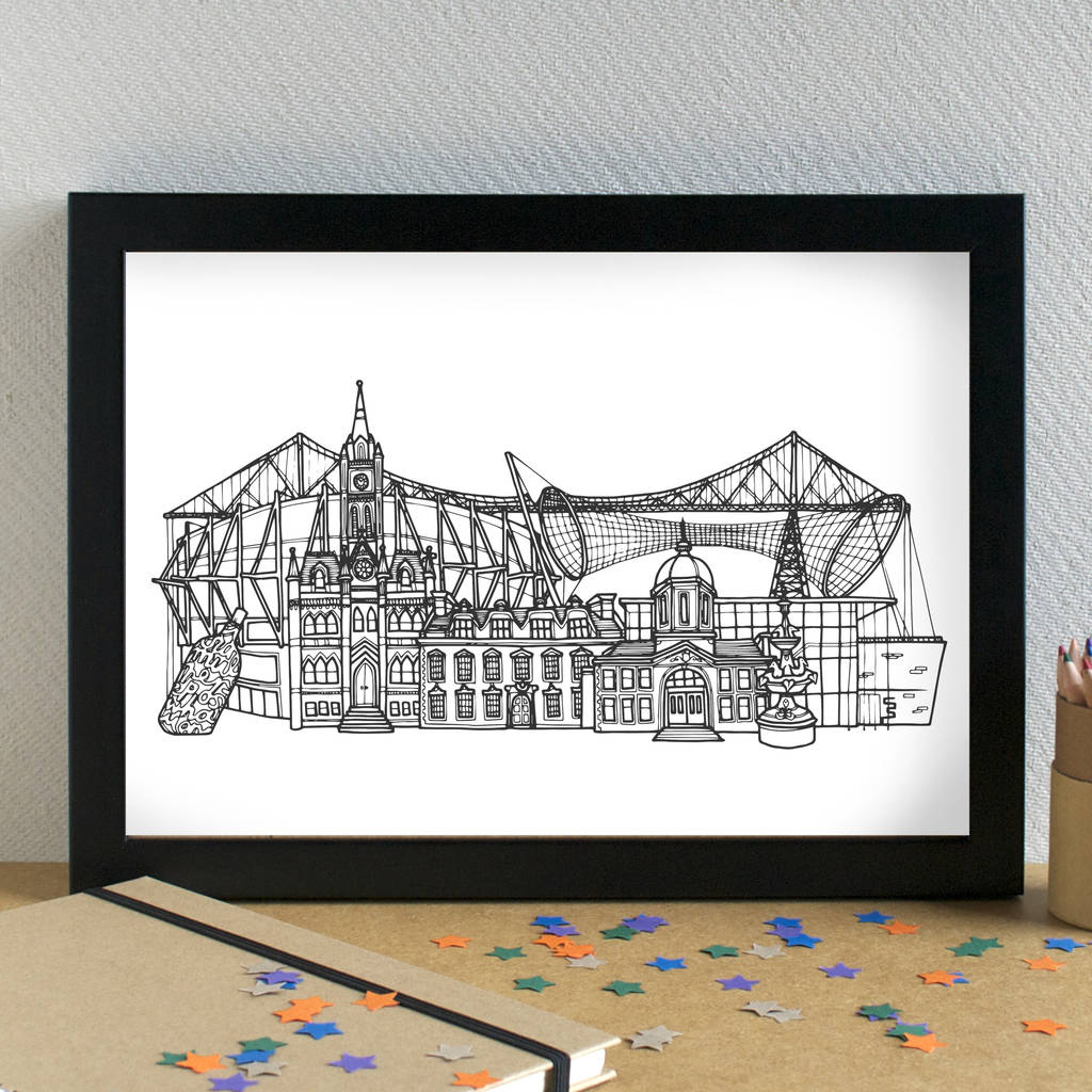 Middlesbrough Skyline Cityscape Art Print Unframed By Becka Griffin  Illustration | notonthehighstreet.com