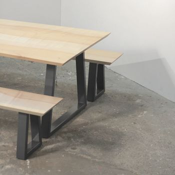 Wood And Steel Dining Table And Bench Set