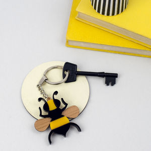 Bee Keyring With Personalised Message - men's accessories