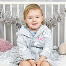 Personalised Grey Hooded Baby Robe With Lambs