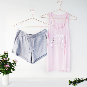 Personalised, Sip Sip Hooray, Wedding Pj Set - one week to go
