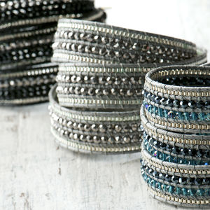 Three Wrap Beaded Bracelet With Grey Waxed Cotton
