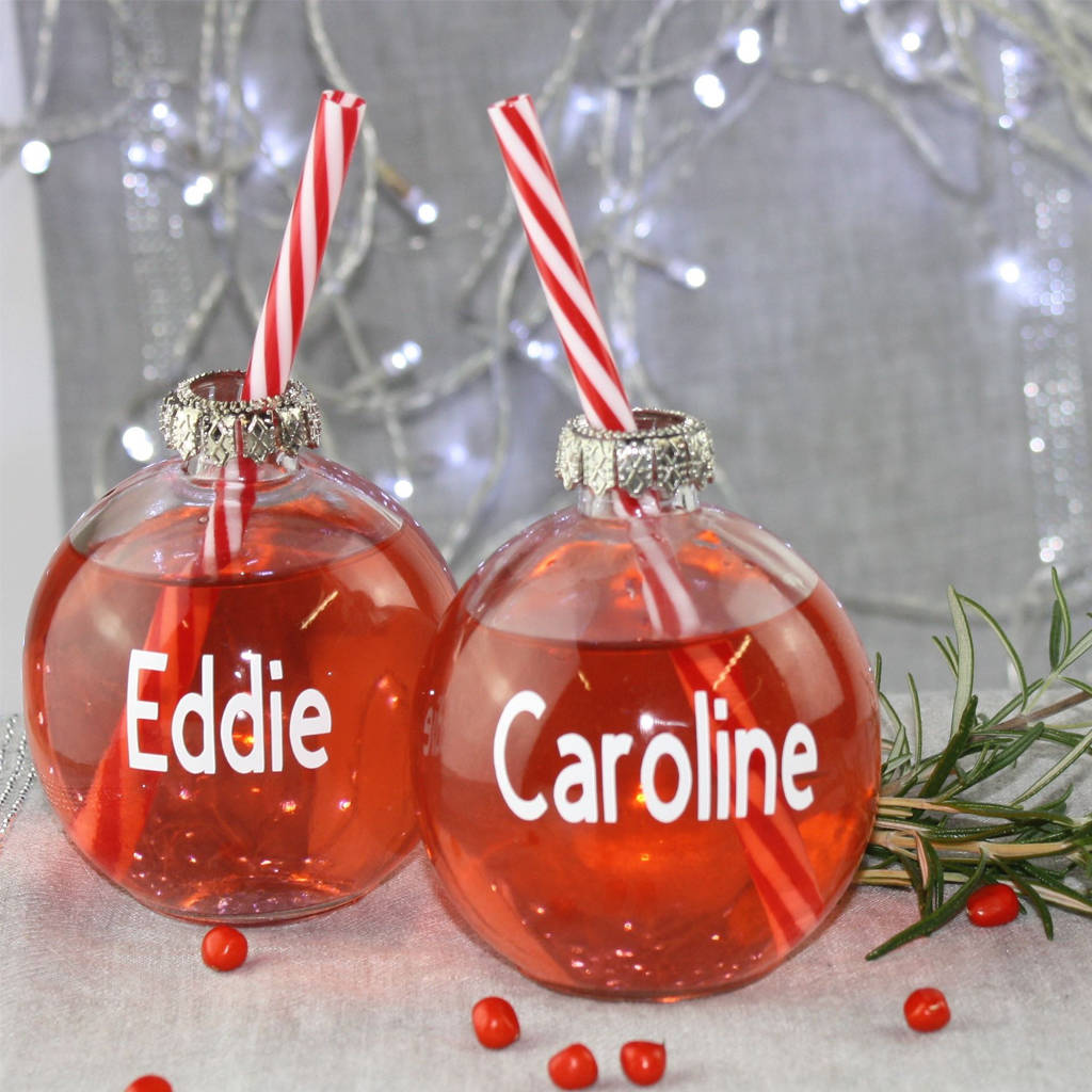 personalised christmas bauble drinking glass by debono  bennett