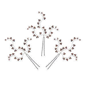 Set Of Three Rose Gold Crystal Hairpins