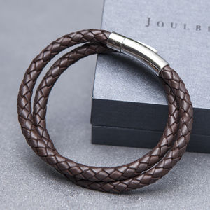 Brown Plaited Mens Wrap Bracelet