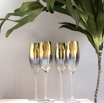 Set Of Four Gold Dipped Champagne Flute