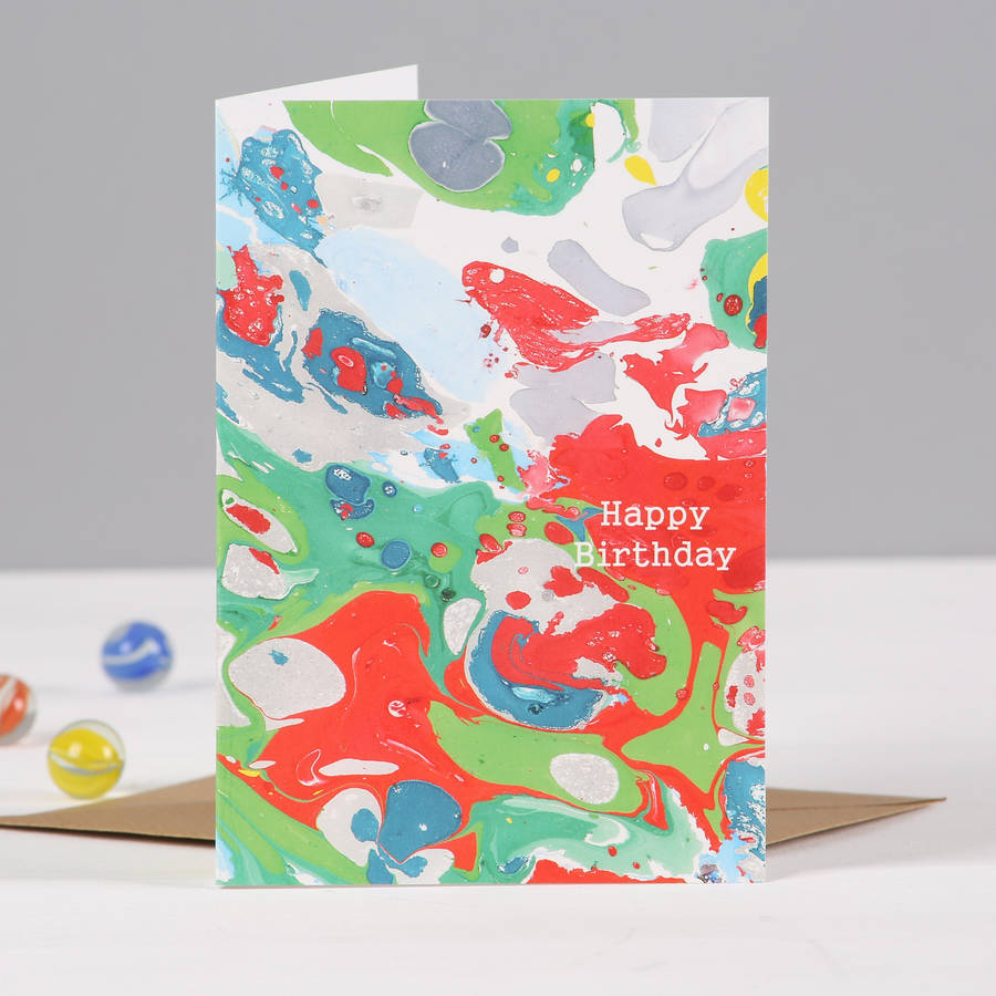 personalised marble print happy birthday card