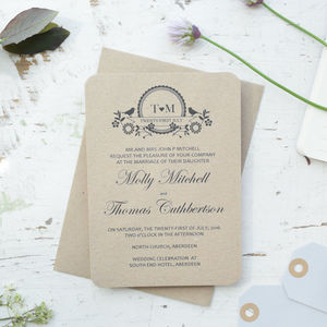Recycled Lovebird Wedding Day/Evening Invitation