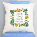 Personalised Tropical Leaf Family Cushion