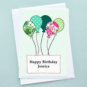 'Balloons' Personalised Girls Birthday Card