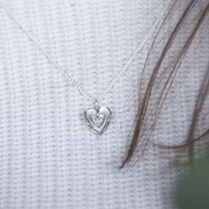 Silver Textured Double Heart Pendant
