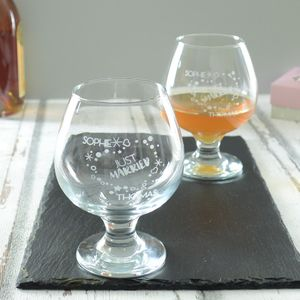 Just Married Personalised Wedding Brandy Glass Set