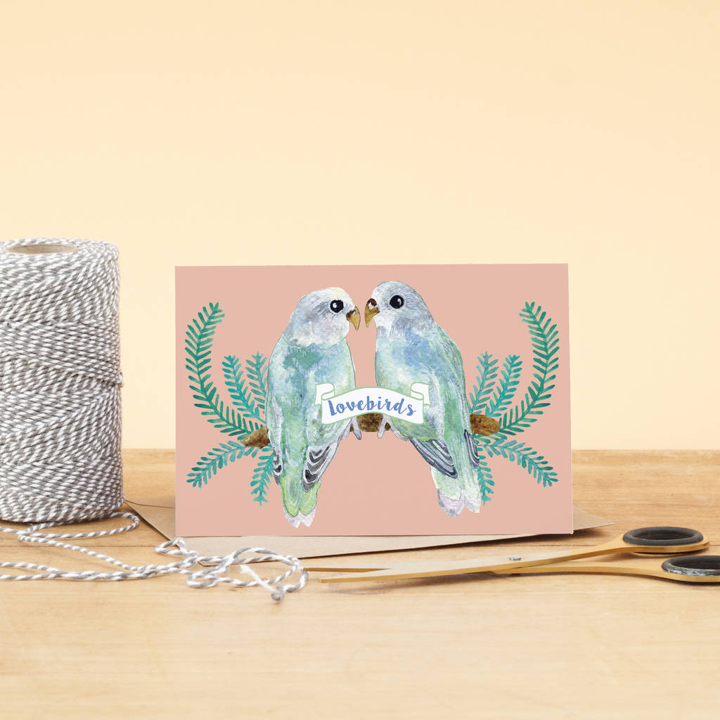Love Birds Illustrated Greeting Card