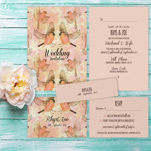 Dancing Birds Blush And Gold Wedding Invitation - brand new partners