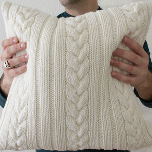 Strikk Knotted Cable Cushion In Cream