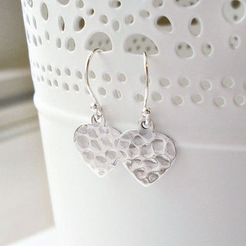 Sterling Silver Hammered Sweetheart Earrings