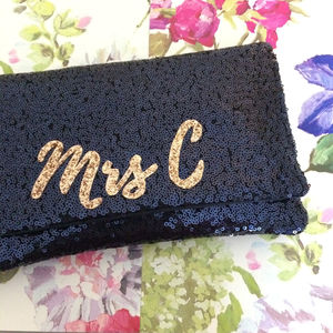 Black Or Navy Sequin Mrs Initial Clutch - evening bags