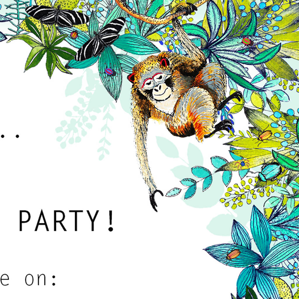 jungle theme kids party invitations by charlotte duffy design