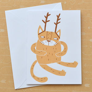 Santa's Cat Hand Screen Printed Card - christmas sale