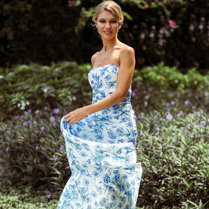 Meadow Floral Print Strapless Bridesmaid Dress