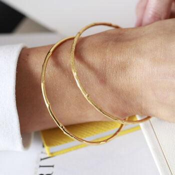 Bamboo Style 18ct Gold Vermeil Bangle