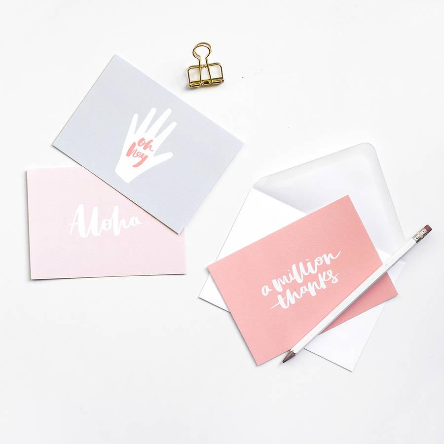 A6 Brush Lettered Notecard Set And Envelopes
